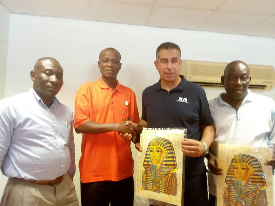 Eyptian volleyball coach Sherrif and Ghanaian sports officials