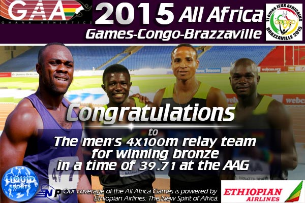 Ghana's 4x100m relay team wins bronze after disqualifications